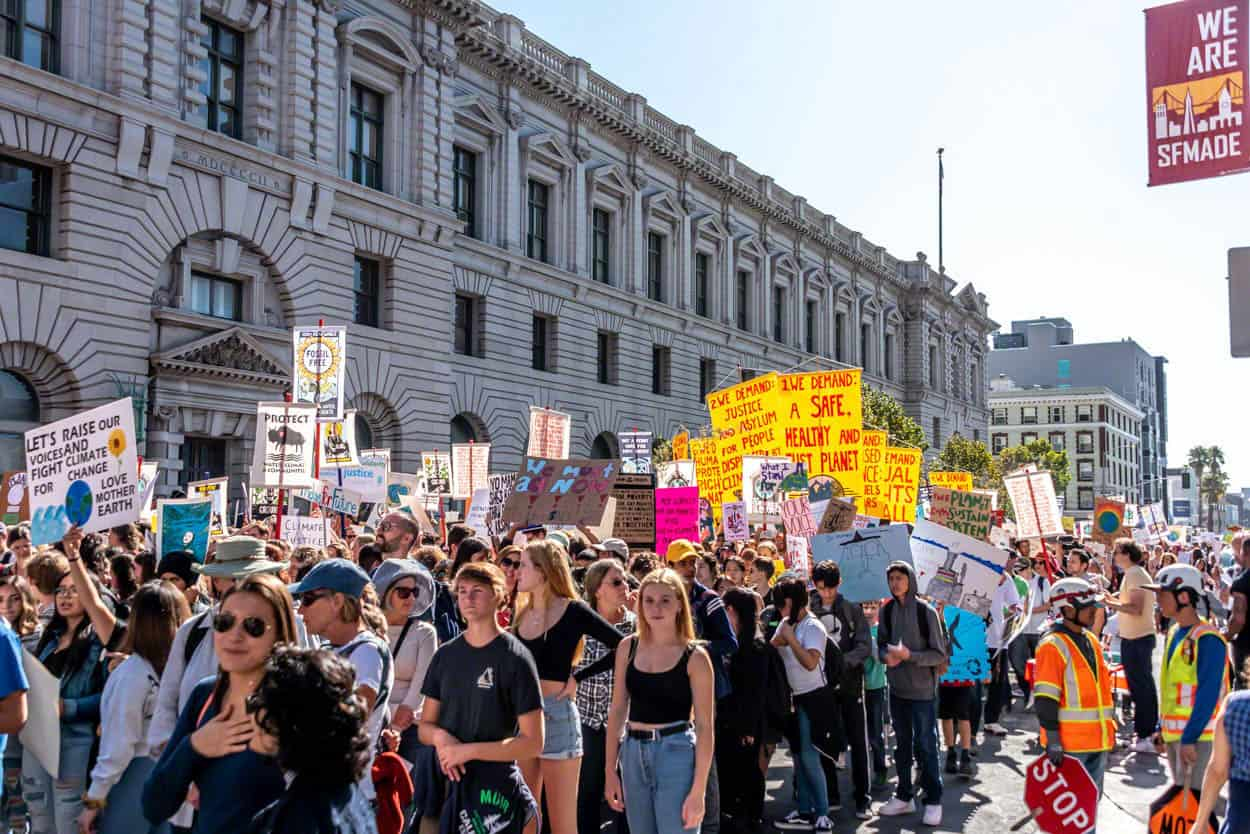 marchers at Climate Strike San Francisco