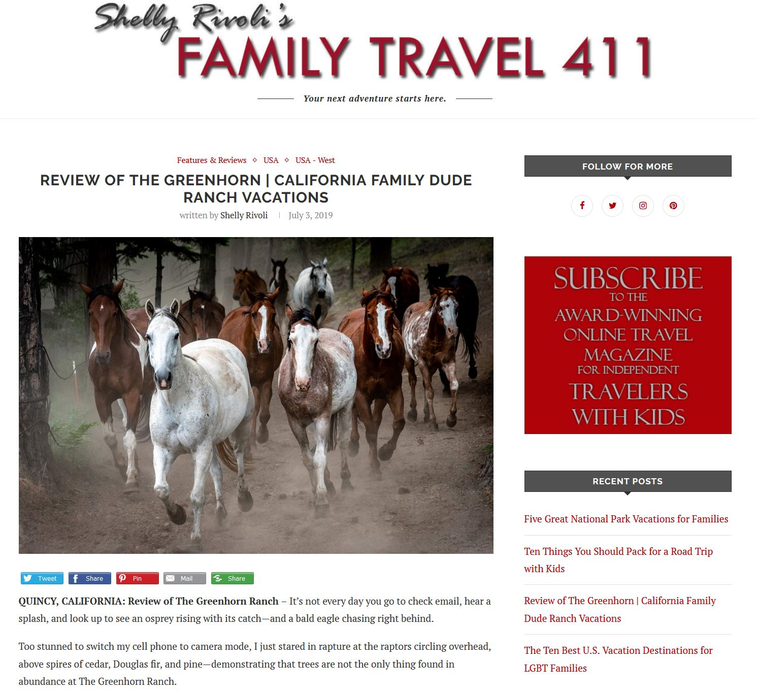 Shelly Rivoli review of the Greenhorn Ranch