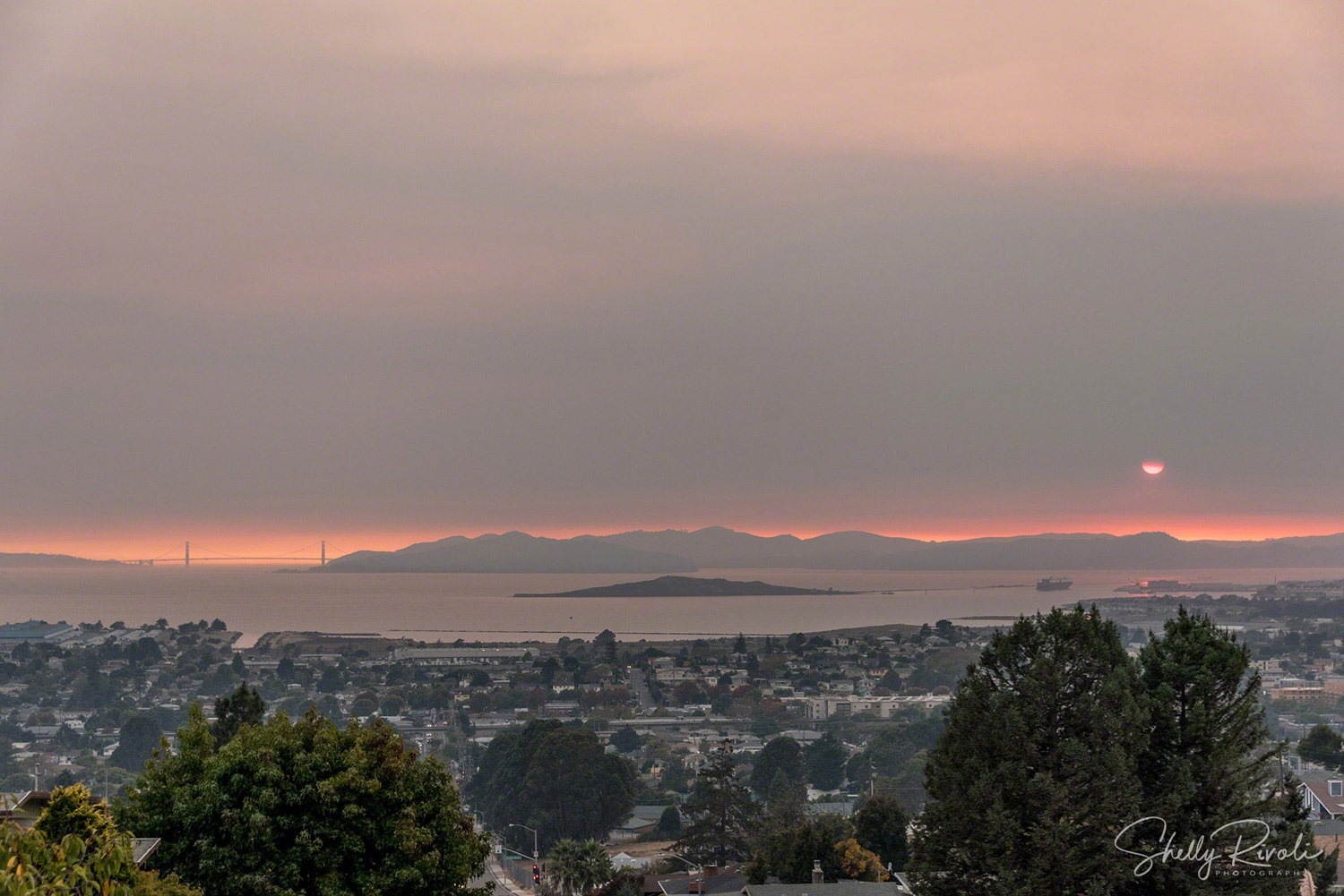 Smokey view looking west over San Francisco Bay on October 12, 2017.