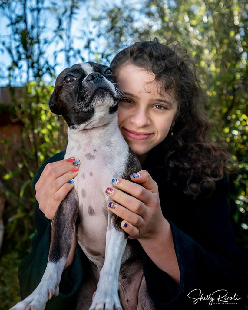 east bay family photography with pet dog and teen