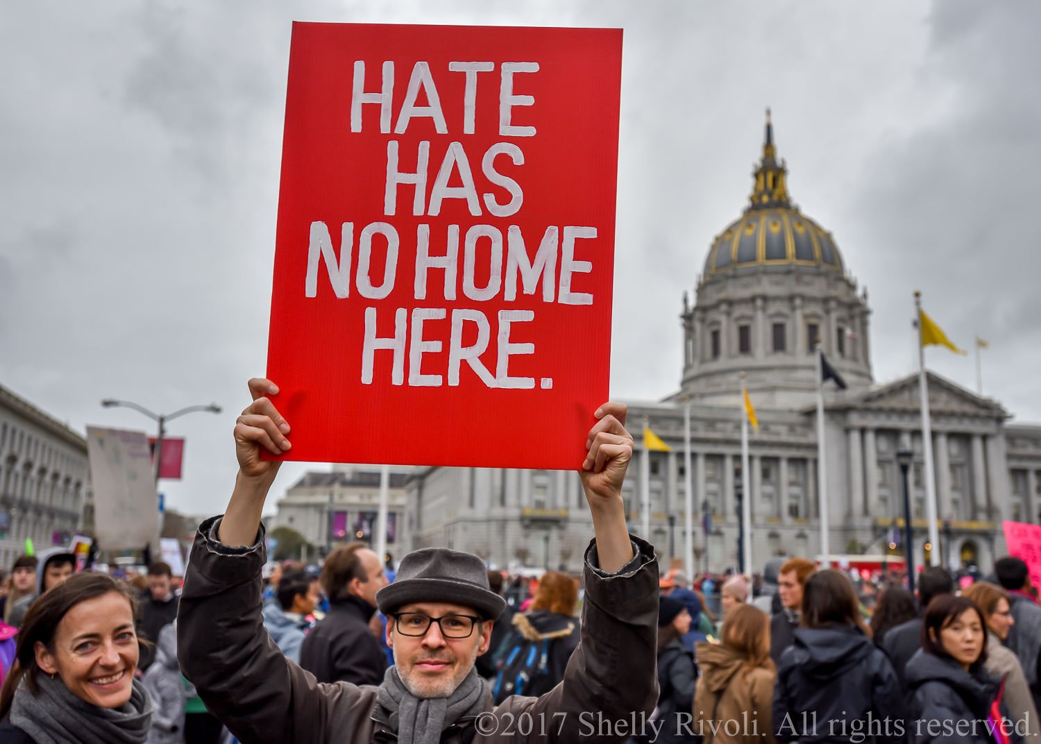 Hate has no home here sign held at San Francisco Women's March 2017