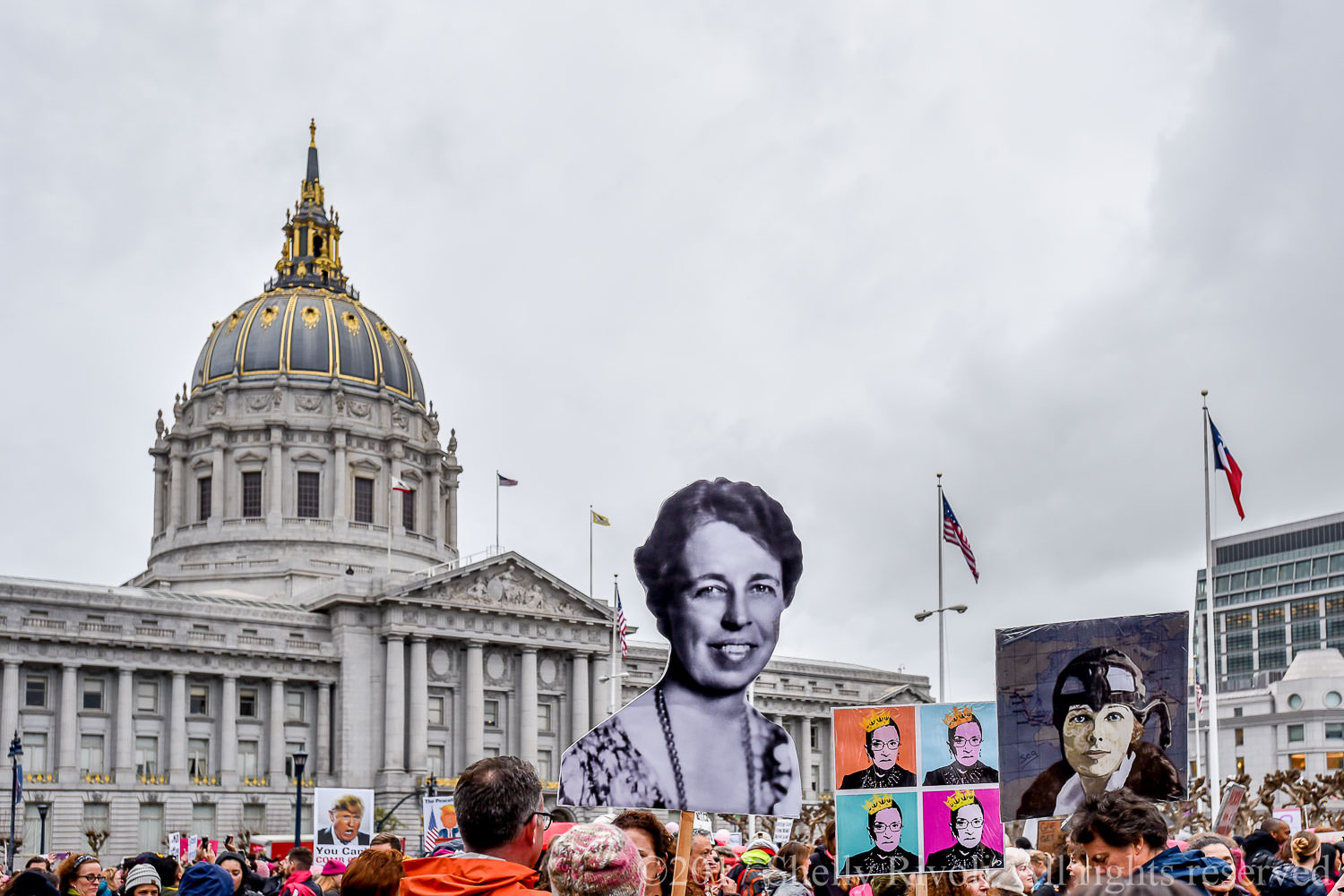2017 Women's March protesters with signs at San Francisco City Hall