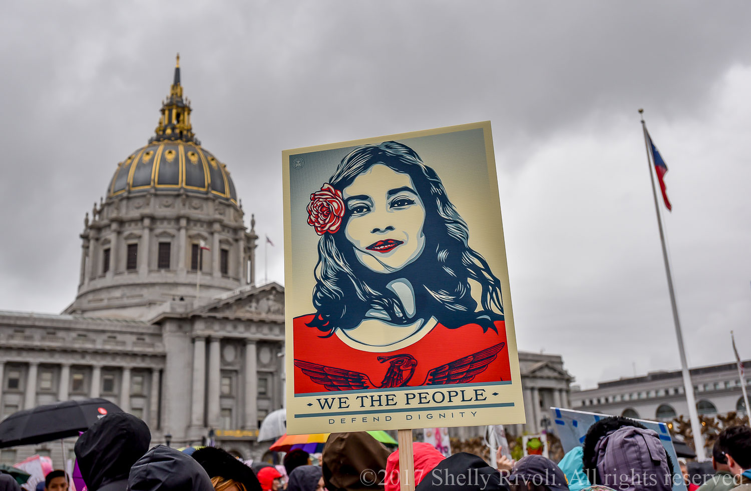 """Shepard Fairey's """"We the people"""" sign at San Francisco Women's March 2017"""