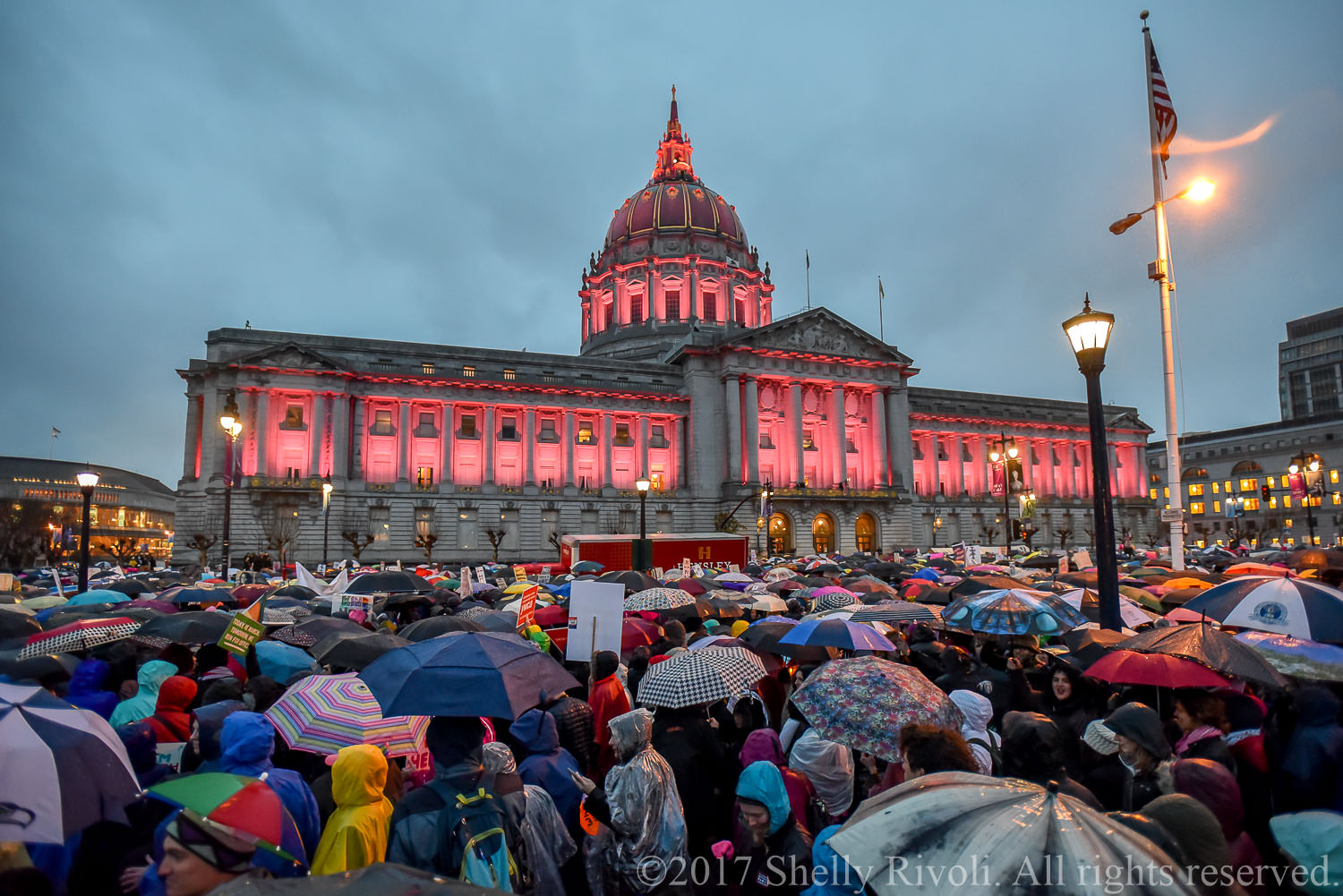 San Francisco City Hall with pink lights at 2017 Women's March