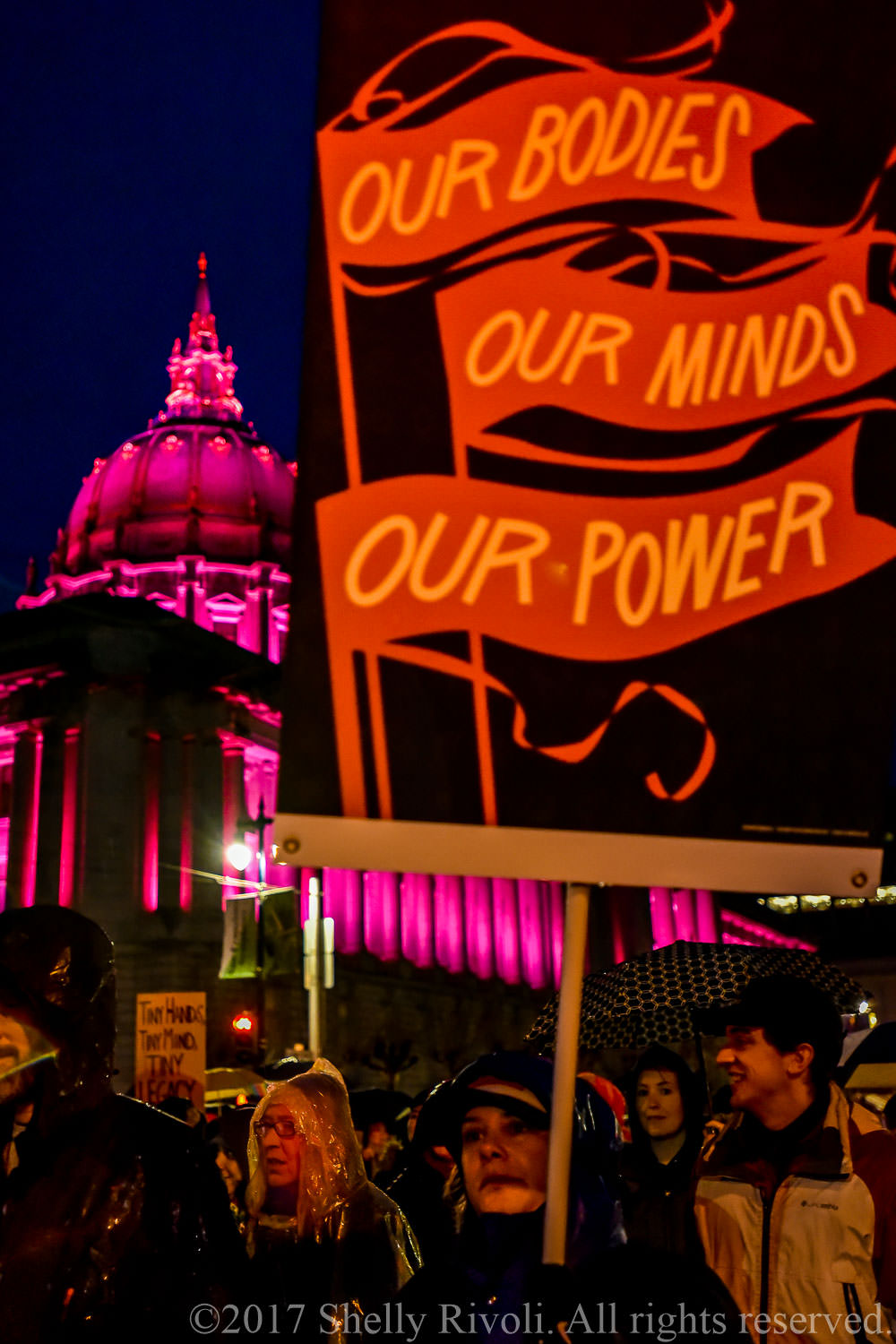 """Women's March sign, """"Our bodies. Our minds. Our power."""""""