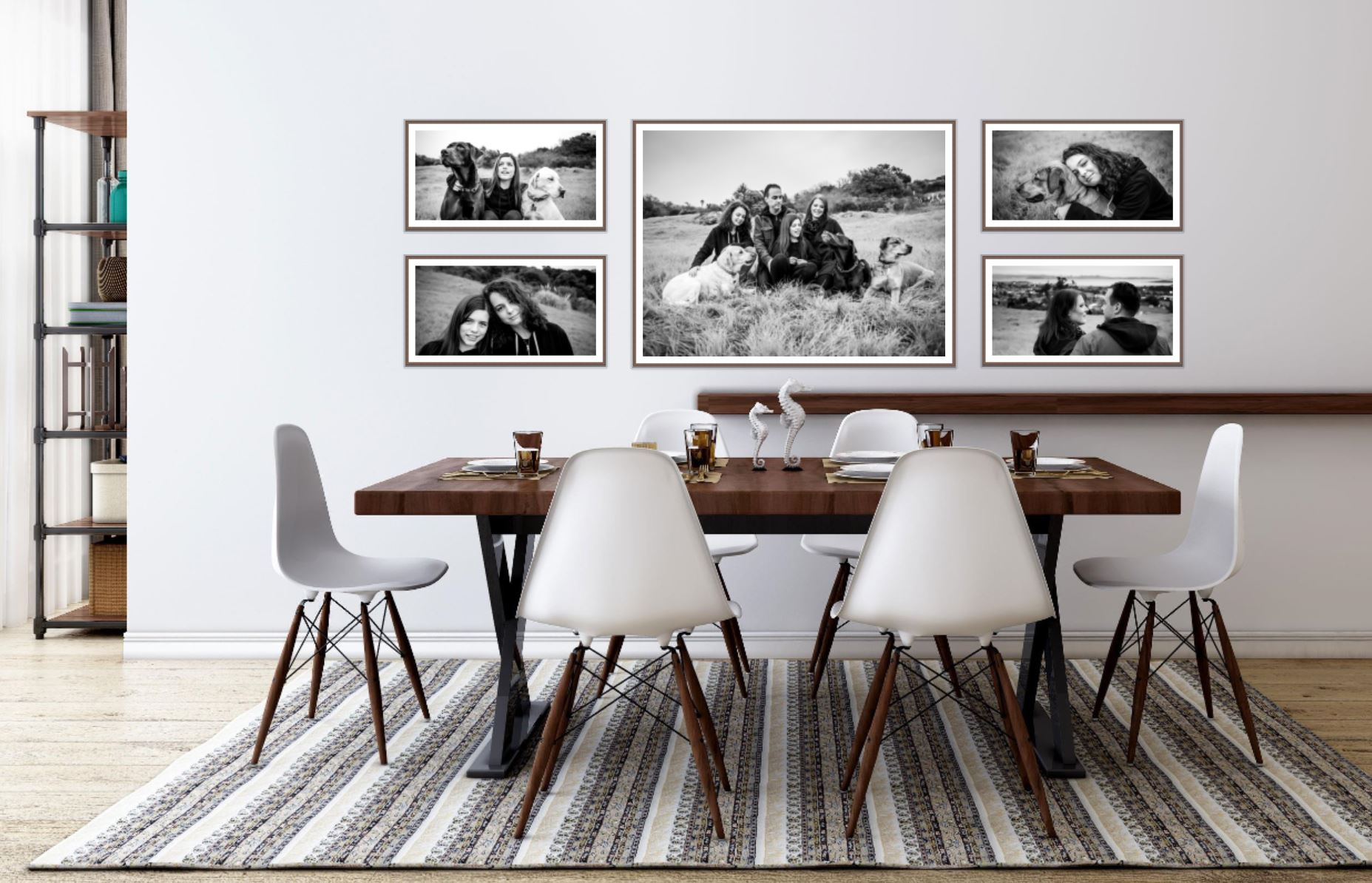 family photography wall grouping of framed photographs