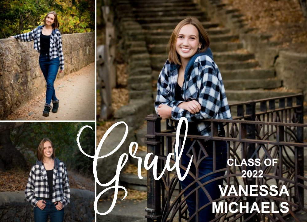 graduation announcement card with senior portraits by Shelly Rivoli Photography