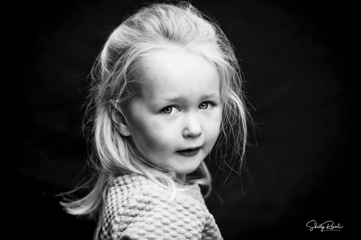 fine art black and white portrait of child