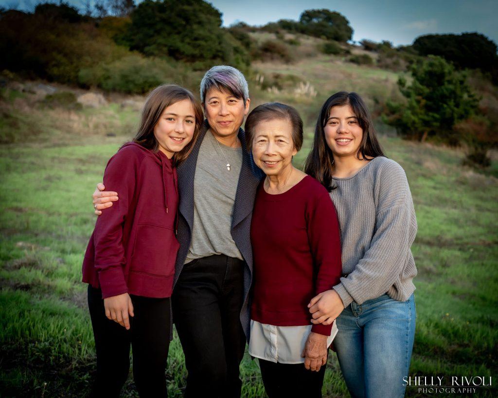 Three generation family photo in East Bay Berkeley Hills